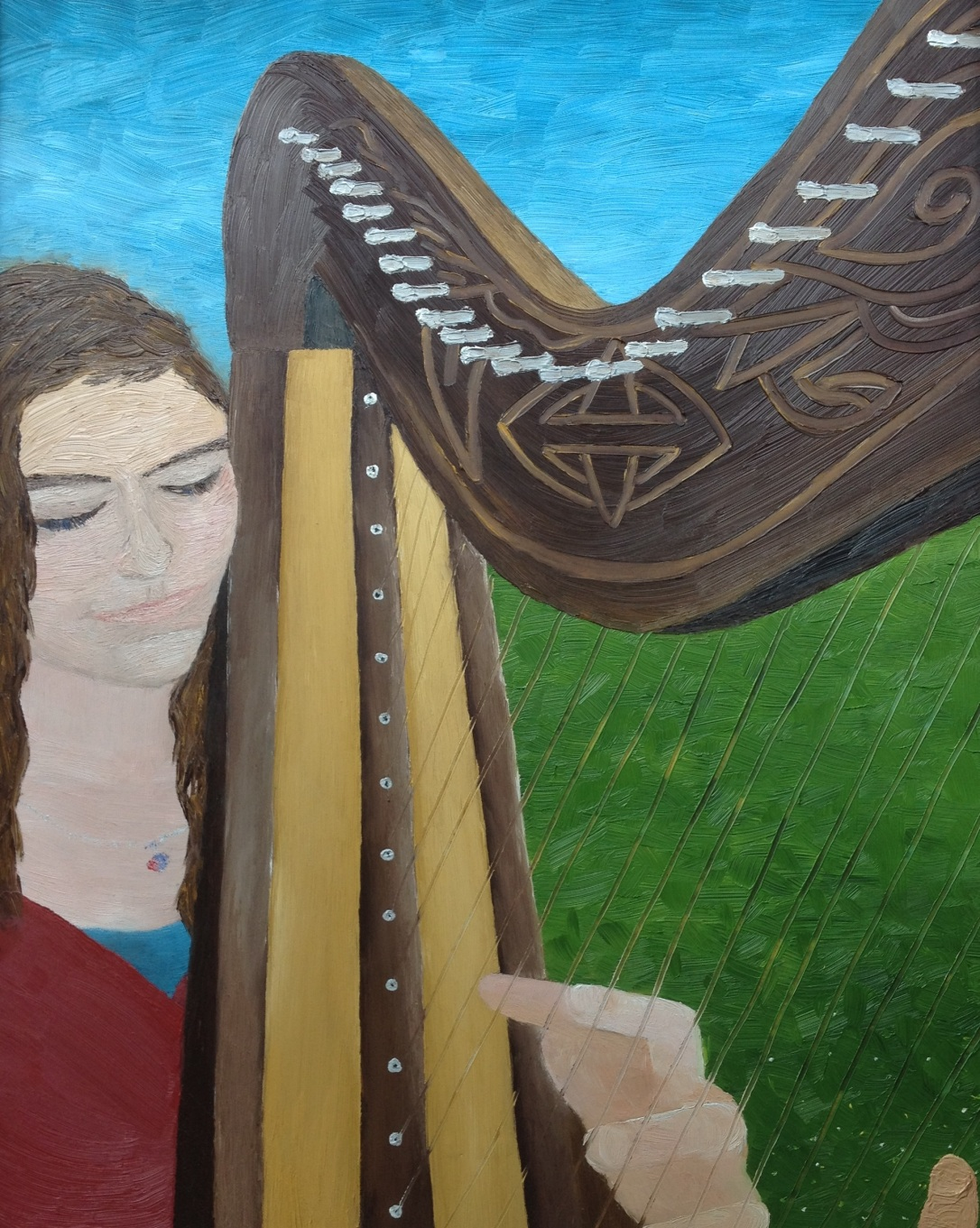 £70 Harp Player, oil on wooden board framed