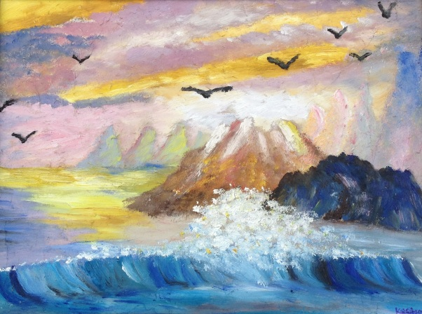 £80 Seagull View, oil on wooden board, framed